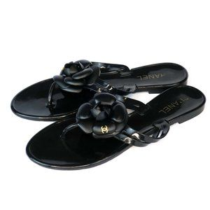 CHANEL Black Jelly Camellia Flower Thong Sandals
